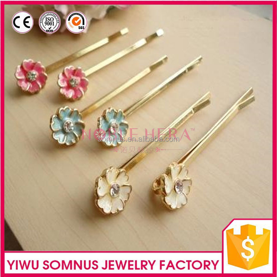 U Shape Metal Butterfly Hairpins with Acrylic Pearls and Flowers