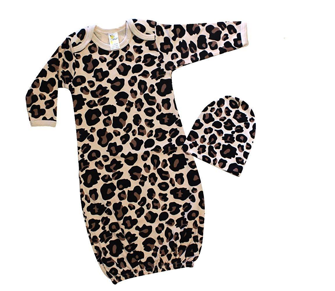 092c8302d2a Get Quotations · Laughing Giraffe Baby Girl Sleep Gown   Beanie Hat Set  (0-3M