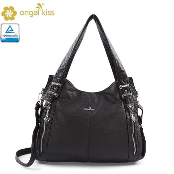 Angelkiss Bags Brand Washed Pu Soft Handbags For Women Guangzhou Supplier Whole Price In Stock