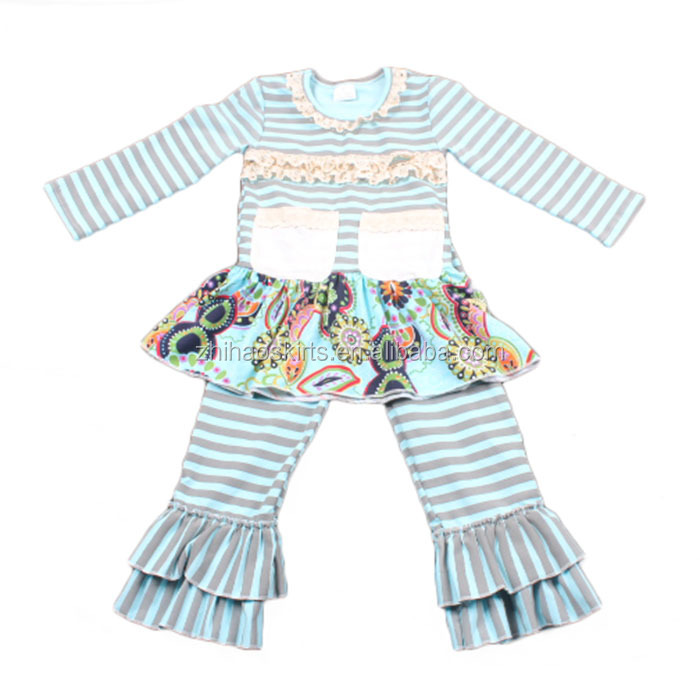 zhihao kids clothes wholesale striped ruffle matching clothes set giggle moon remake outfits
