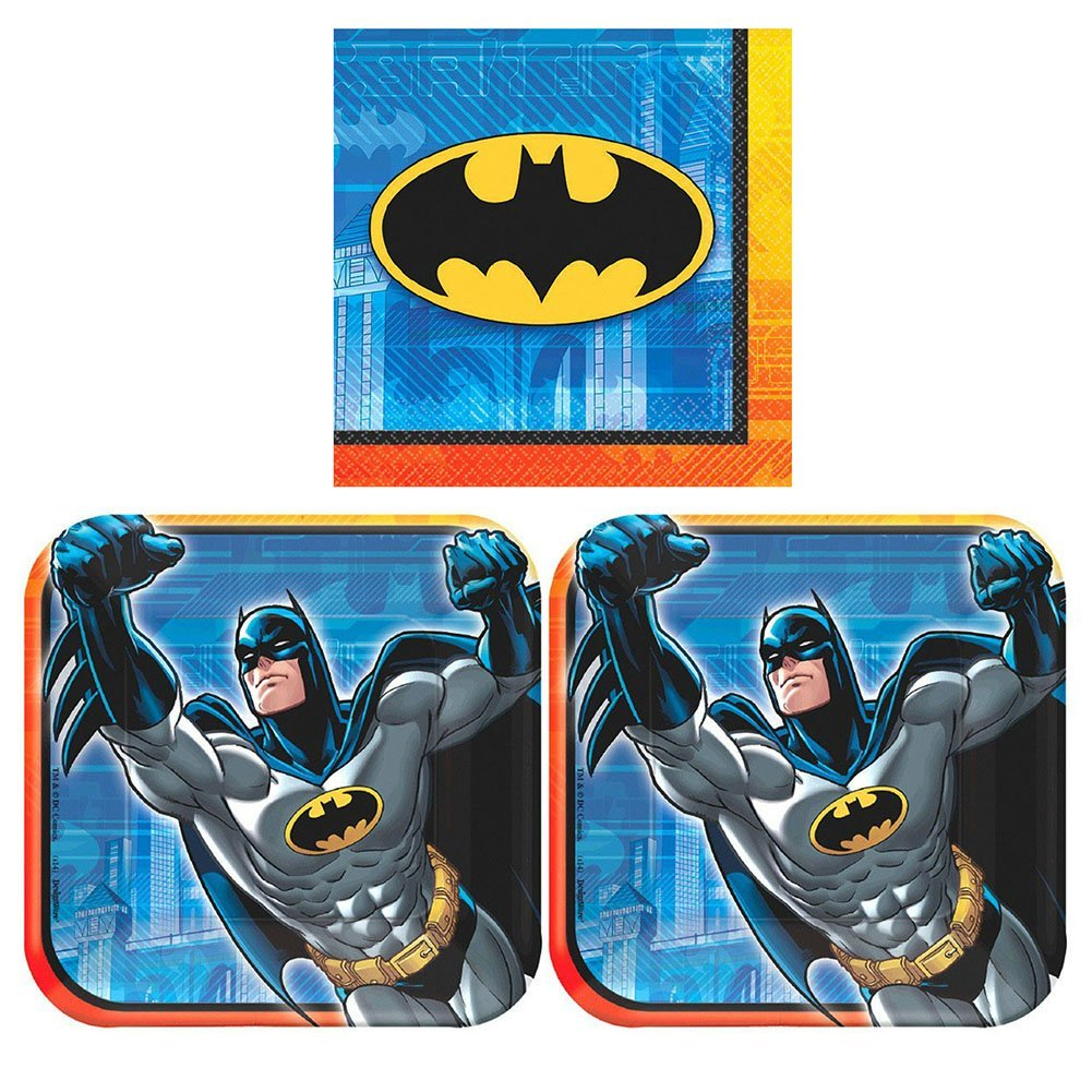 Batman Party Pack for 16 Guests - 16 Dessert Plates and 16 Beverage Napkins