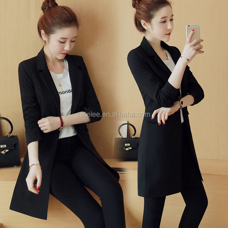 NS1544 Korean Fashion Women Spring Autumn Casual Body Shaping Elegant Long Suits