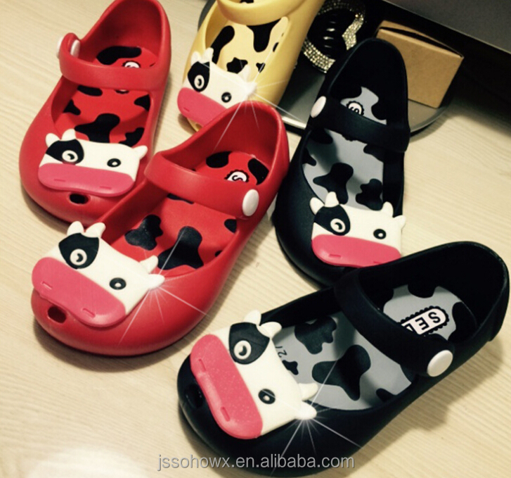 mini melissa for kids, cow design mini melissa replica, melissa shoes for kids