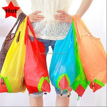 Reusable Eco-friendly lovely Strawberry Storage Bag Handbag Foldable Shopping Bags Tote colors can be choosed