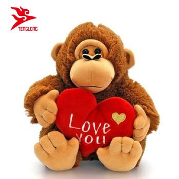 Kustom Hidup Liar Hewan Monyet Mainan Mewah Dengan Hati Untuk Hari