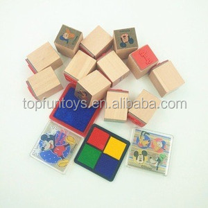 Educational wooden stamp set gift stamp kit with ink pad