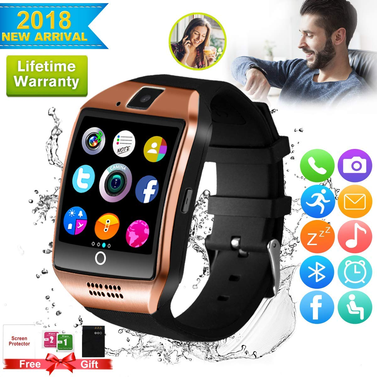 Bluetooth Smart Watch Touchscreen with Camera,Unlocked Watch Cell Phone with Sim Card Slot,Smart Wrist Watch,Waterproof Smartwatch Phone
