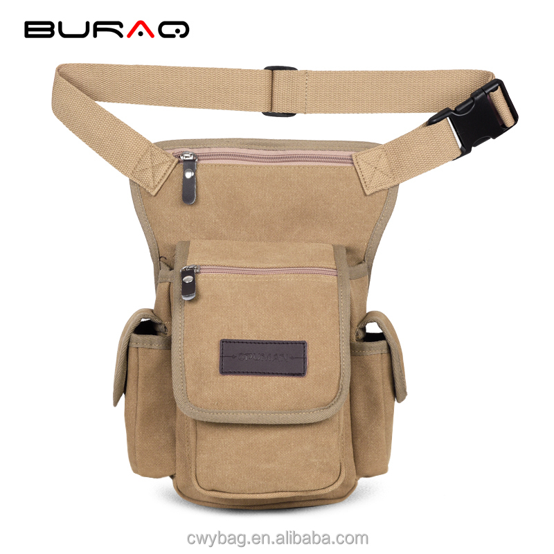 Wholesale black cheap multi-functional sports canvas leg waist pack