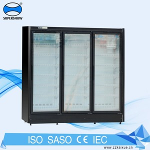 Commercial Supermarket Frozen Food Used Upright Display Fridge Freezer With Glass Door