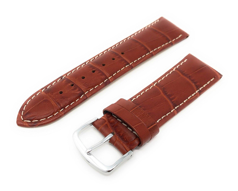 Mens Alligator Grain Watchband Natural Matte Finish Brown 20mm - by JP Leatherworks
