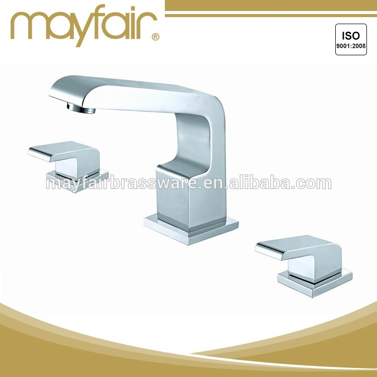 Luxury chrome brass dual handle 3 hole bath faucet