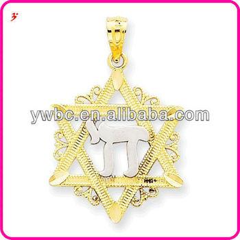 Unique Alloy Silver Jewish Symbol Chai And Gold David Star Lace
