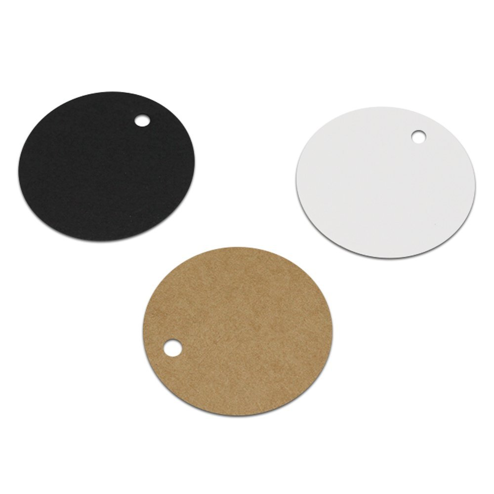 Lavenz 500Pcs/lot 5x5 cm Round Kraft Paper Party Gift Cards Tags Scrapbooking Paper Crafts Tag Kraft Paper Label Blank Tag Bookmarks