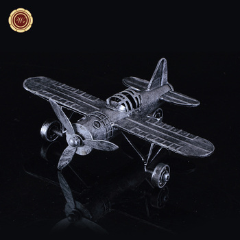 Wr Vintage Metal Plane Model Collectible Handicraft Airplane Craft Unique  Home Office Decor 17*22
