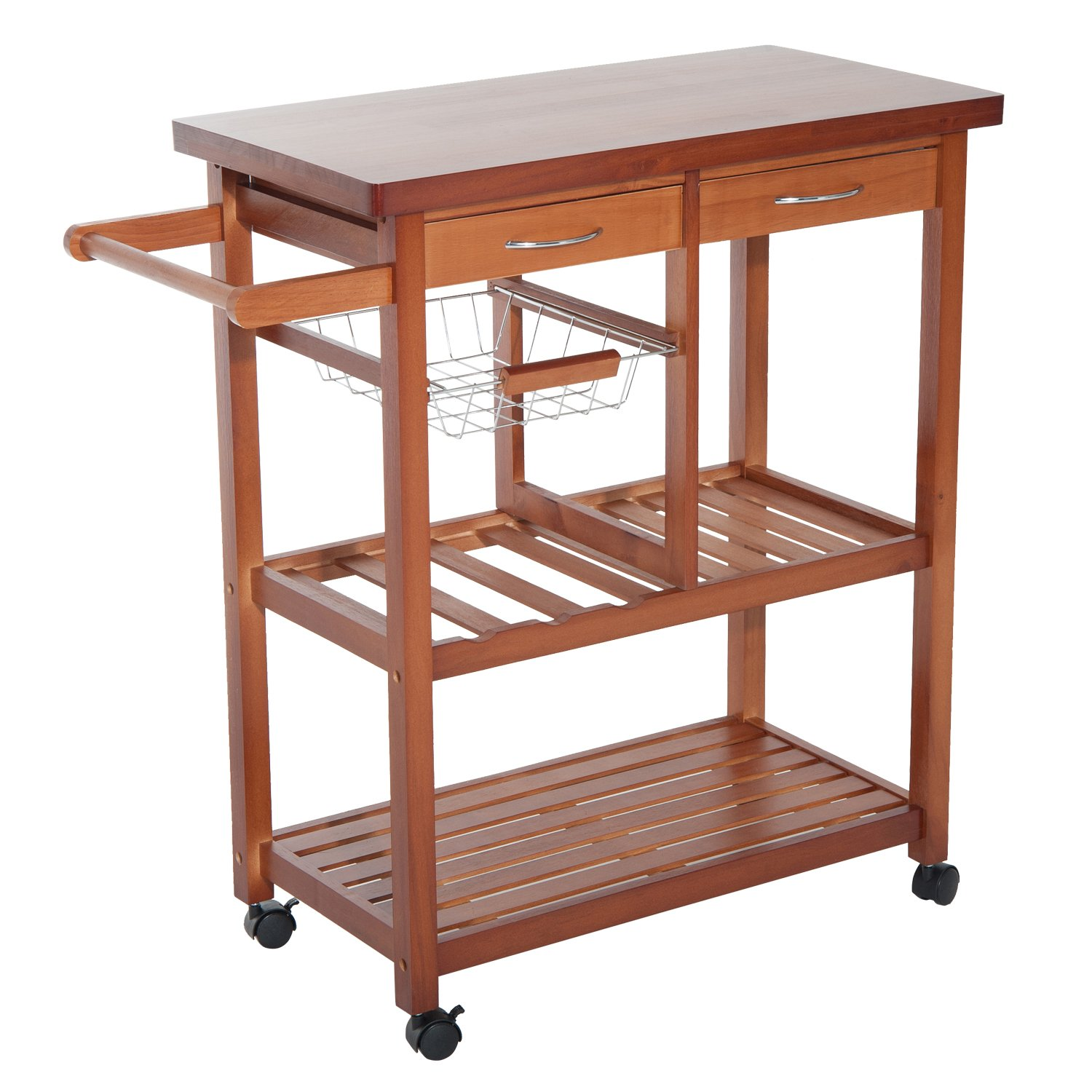 HomCom Wooden Rolling Storage Microwave Cart Kitchen Trolley with Drawers