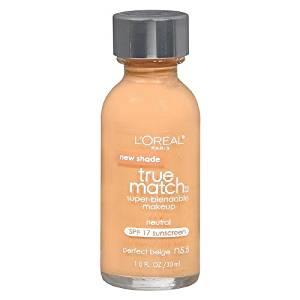 Loreal Paris True Match Super Blendable SPF 17 Perfect Beige Foundation Makeup -- 2 per case.