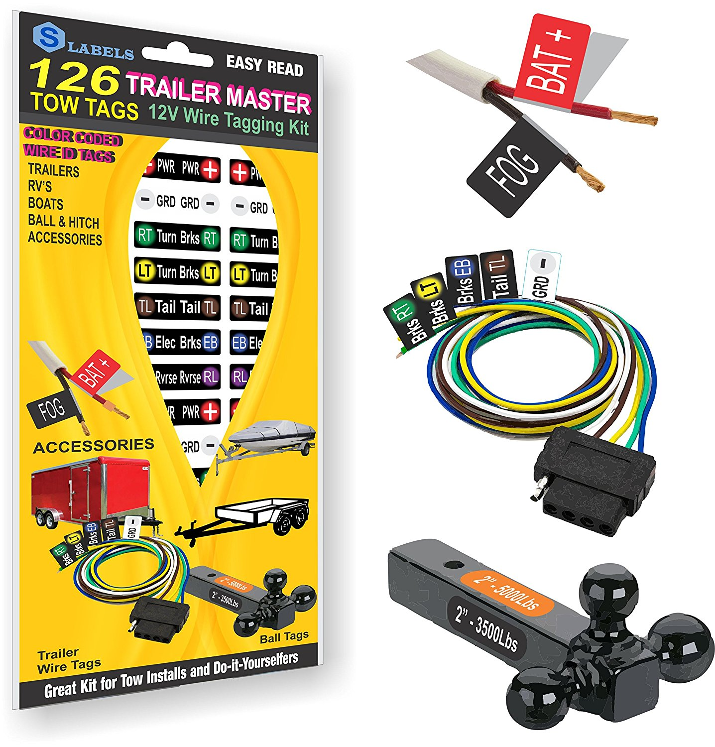 Trailer Master 12v Wire Tag Kit 3 Label Sheets 126 Color Coded Tags
