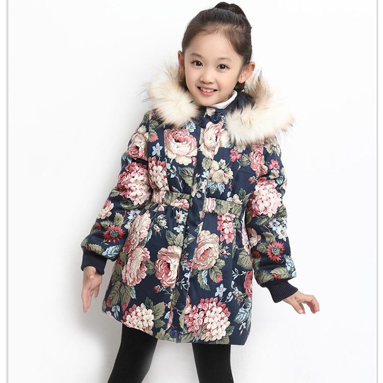 475dee98d Las niñas de invierno abrigo de algodón niños de espesor cálido en la sección  larga de