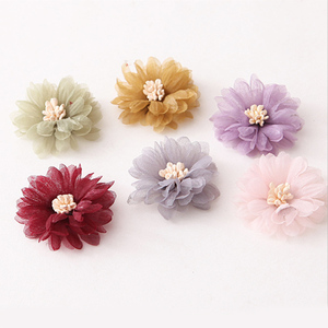 wholesale summer handmade colored woman 3d fabric chiffon flower for headband