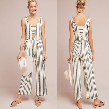 5fe4d12ac2c Woman Summer Clothes Ladies Sexy Sleeveless Deep V neck Striped Cotton  Linen Jumpsuit