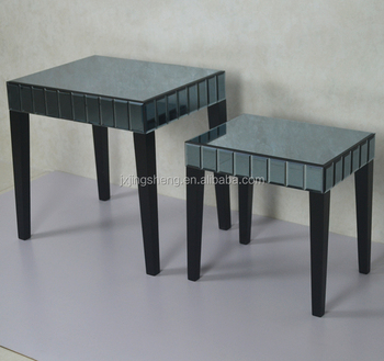Beveled Silver Decor Mirrored Living Room Furniture,mirror Cube Coffee  Table Set Picture