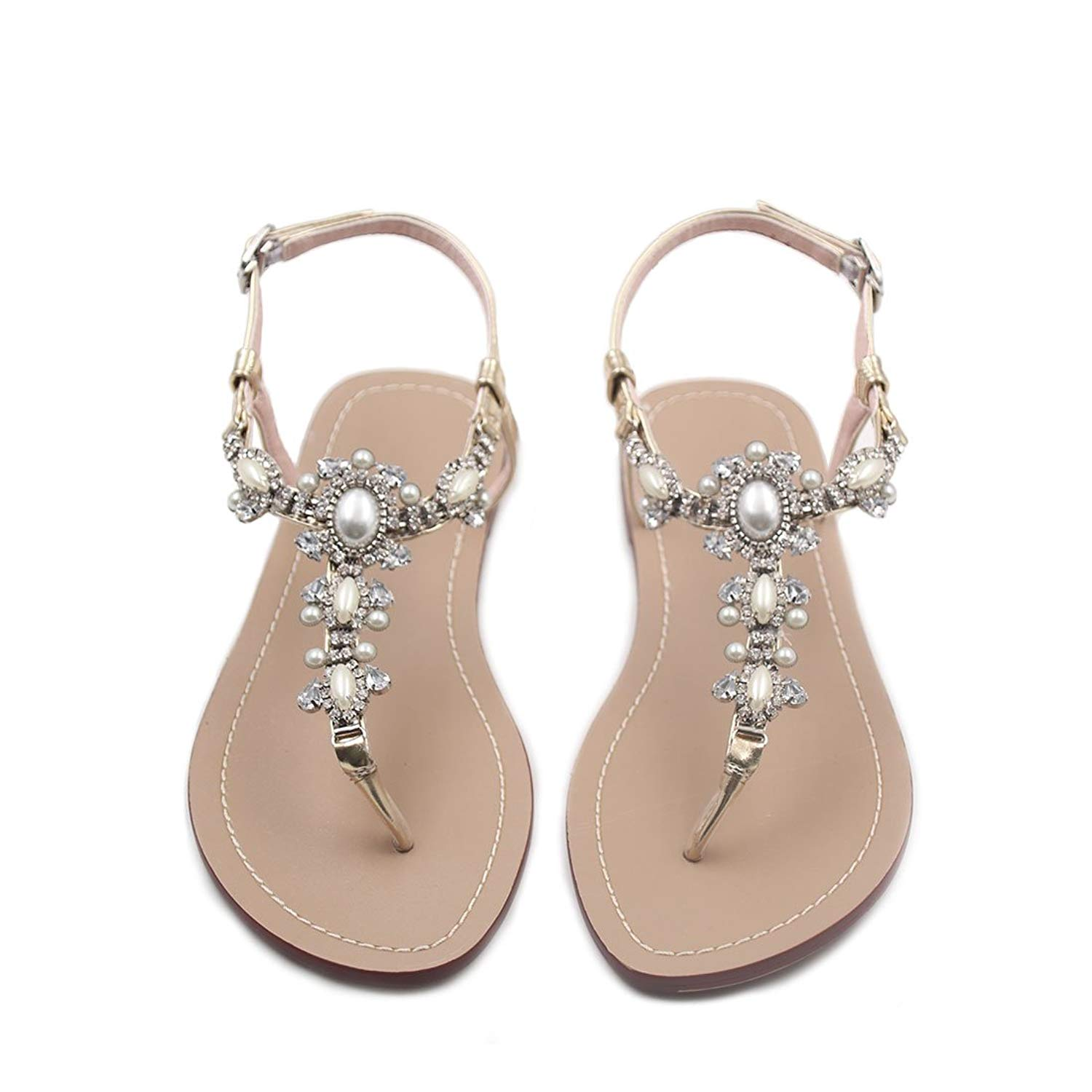 795f43f2d023f Get Quotations · Flat Sandals with Rhinestones for Women Flip Flop Wedding  Gladiator Shoes Gold Color