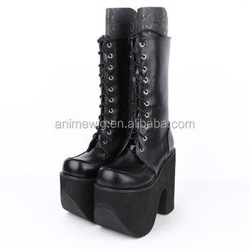 15 Cm Hak Mode Zwart Lederen Punk Laarzenlolita Schoenen