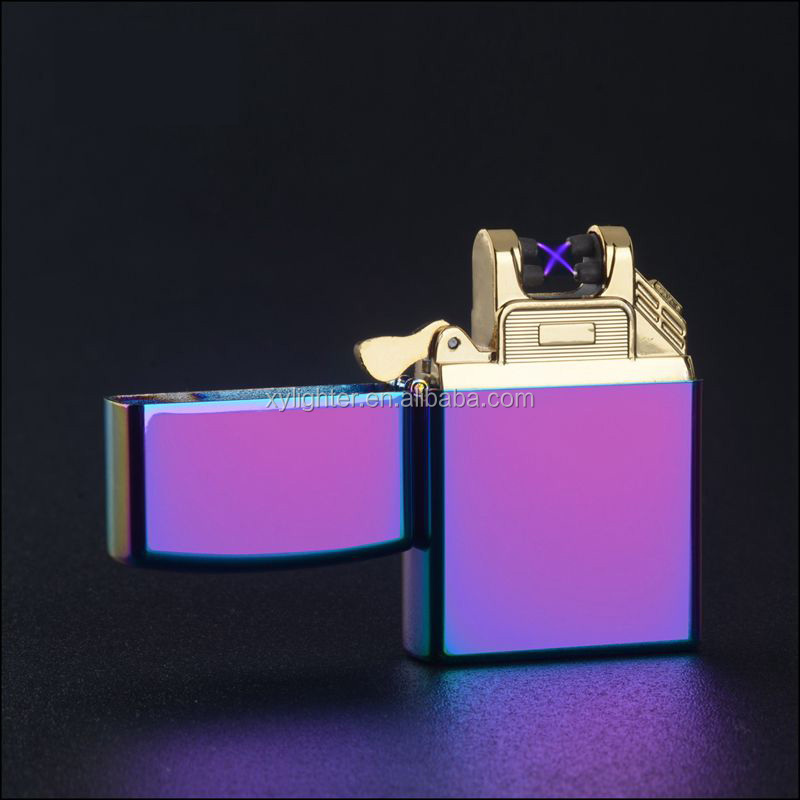 XY210080 Dual arc electric usb lighter for cigarette with gift box