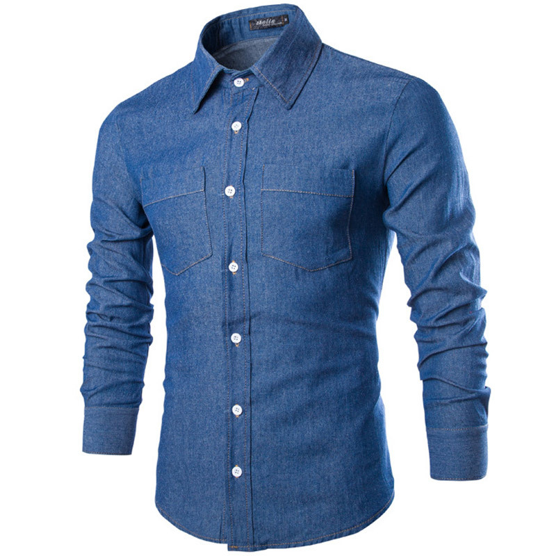 9d4e00cf28a Buy Denim Shirts Men 2015 Brand Designer Casual Men Shirt Long Sleeve  Fashion Slim Fit Jeans Shirts Mens Social Chemise Homme French in Cheap  Price on ...