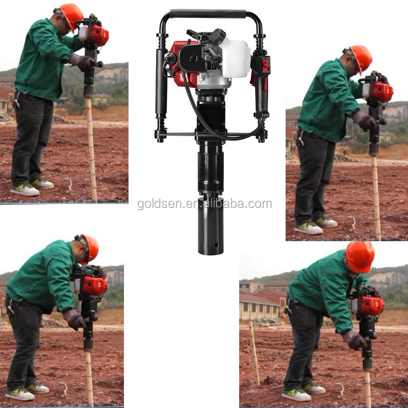 70mm gasoline petrol gas powered power hammer fence post piling driving machine tools screw pile