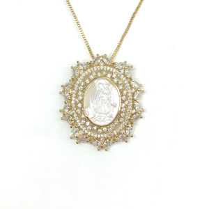 Wholesale in spanish fashion jewellery guadalupe gold silver pendant charm chain necklace