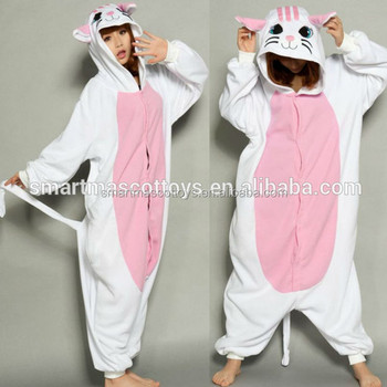 6ca385b3ac8f Flannel Cat Pajamas With White Sleeves Cat Onesie For Adult - Buy ...