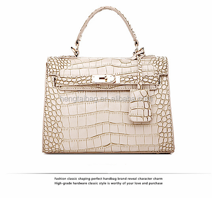 Beautiful leather tote bag Crocodile- effect Fasion PU bag wholesale Price hengtai pu bag