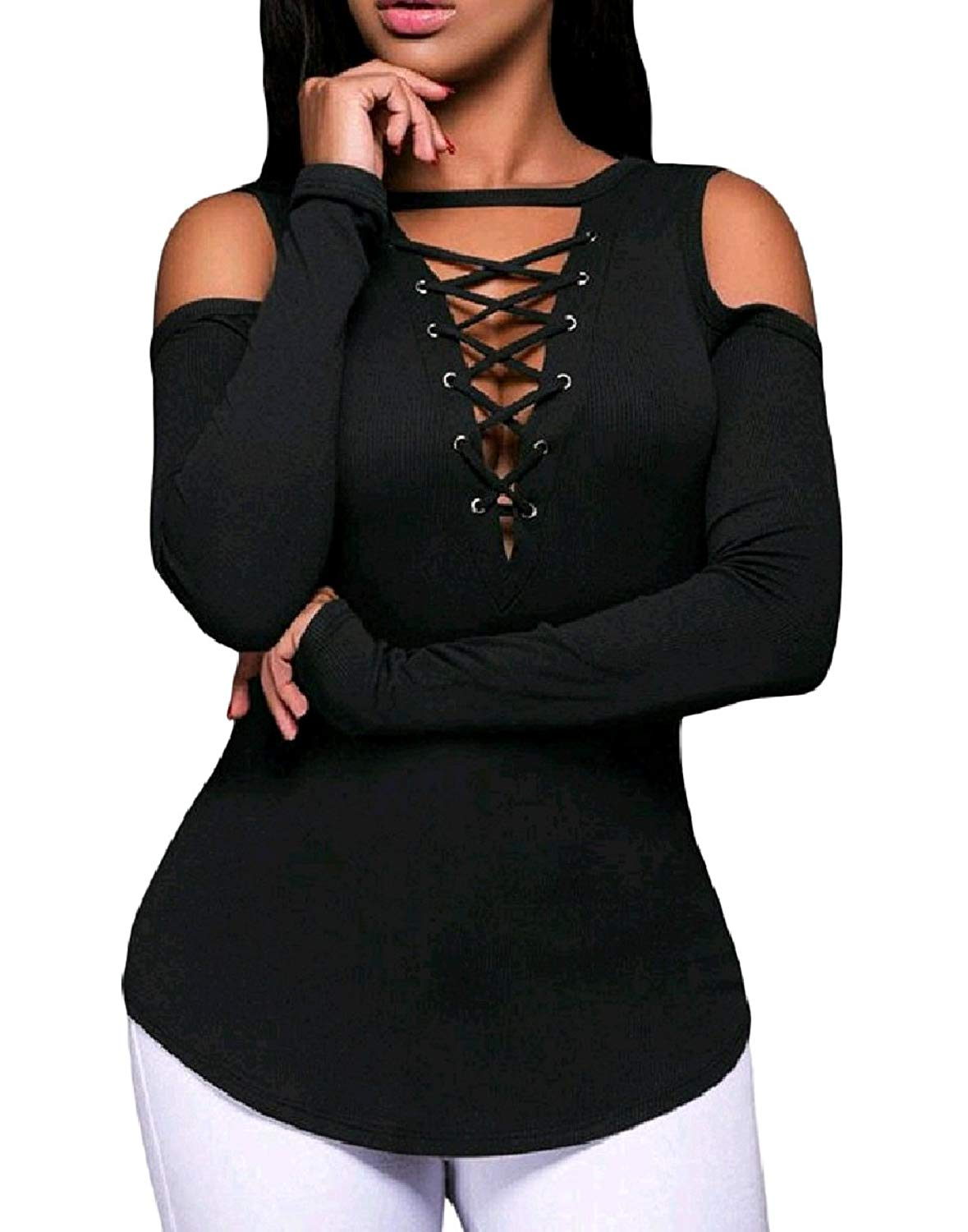 Zimaes-Women Hollow Out Cold Shoulder W Casual Slim Fitting Long-Sleeve T-Shirt Top Pullover
