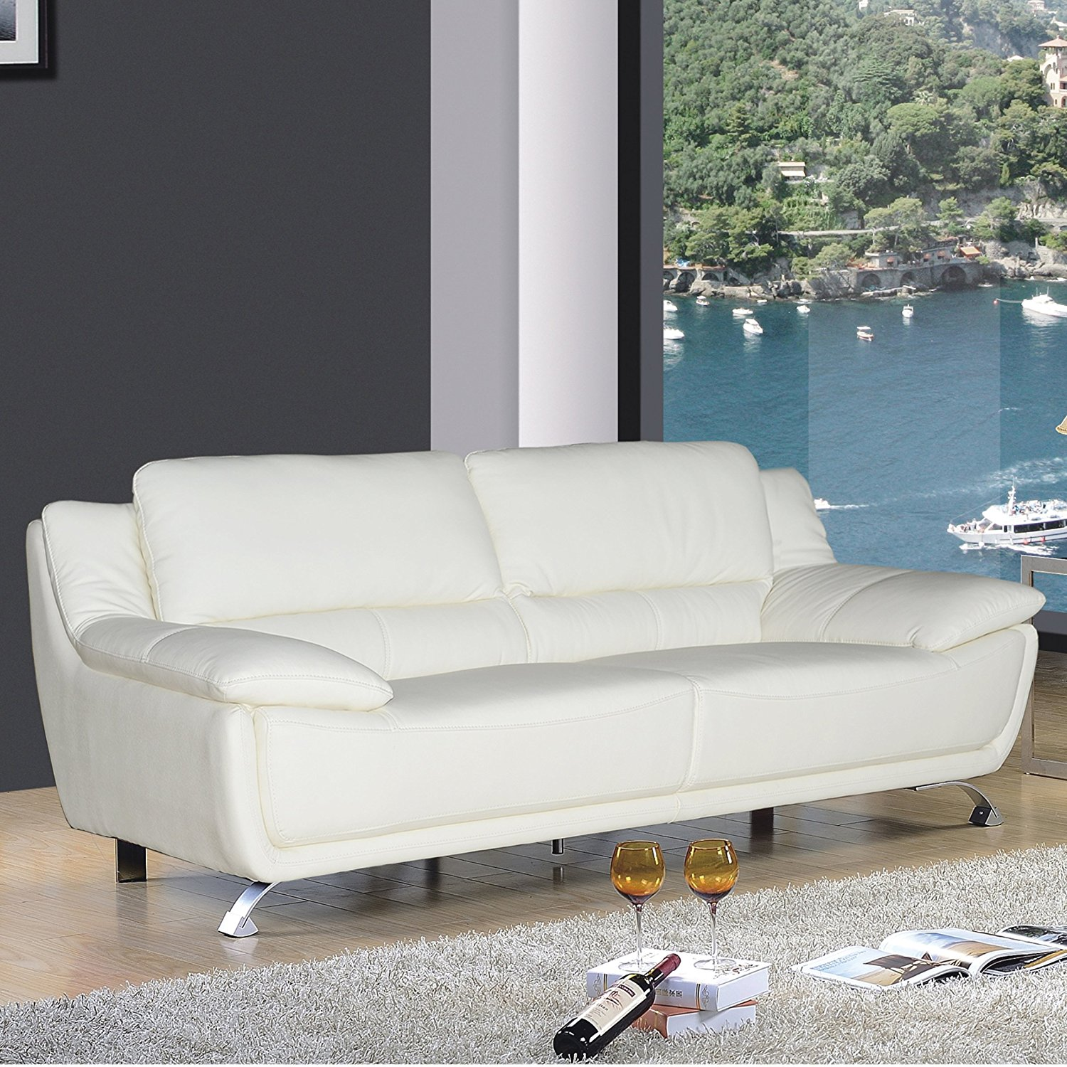 Get Quotations · AC Pacific Dan Collection Modern Upholstered Leather Sofa  With Chrome Legs, Ivory