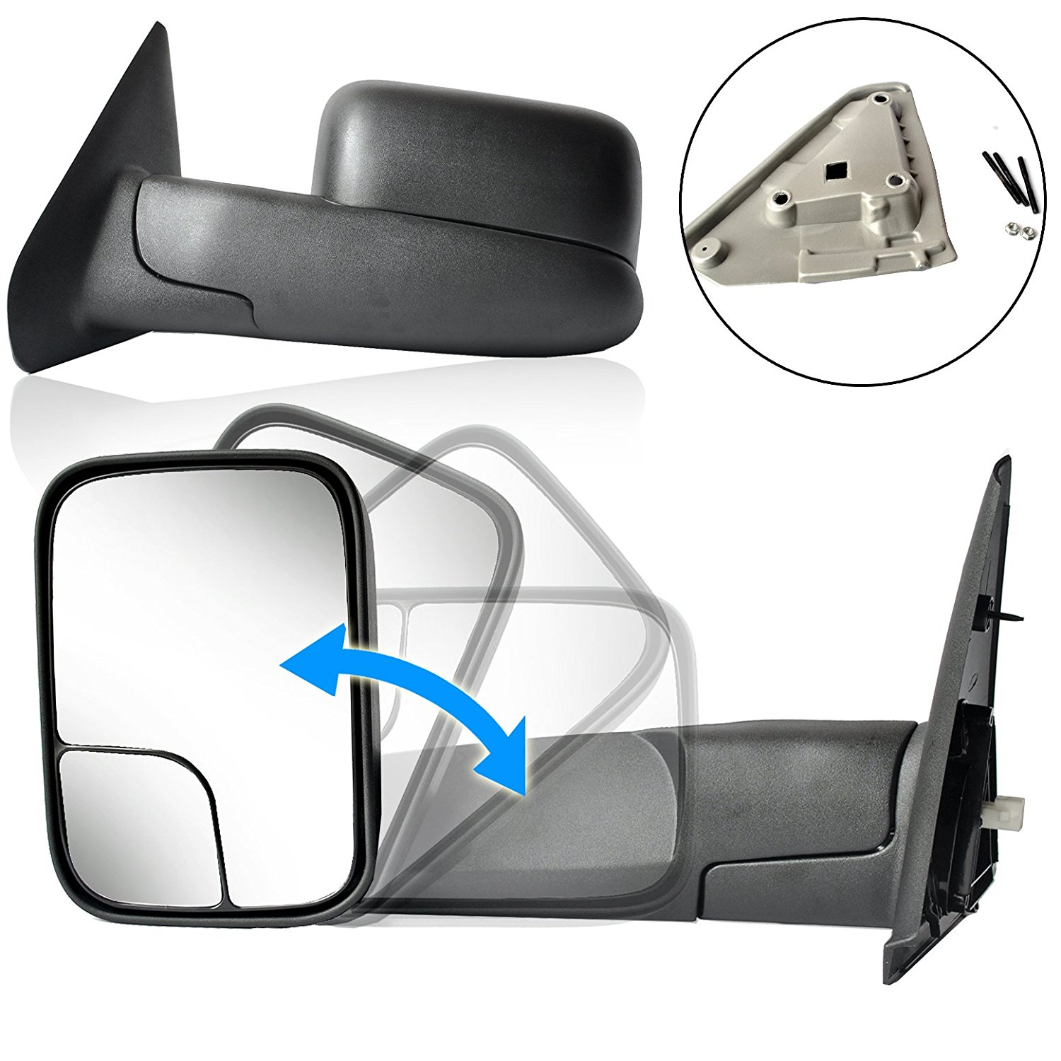 ECCPP Passenger and Driver Side Towing Mirrors for 02-08 Dodge Ram 1500 03-09 Dodge Ram 2500 3500 Pickup Truck Power Heated Tow Folding Side View Black Mirror Pair Set