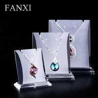 FANXI Hotsale Frosted Organic Glass Shop Counter Trade Exhibitor Props Acrylic Jewelry Display Stand Set Necklace Pendant Holder