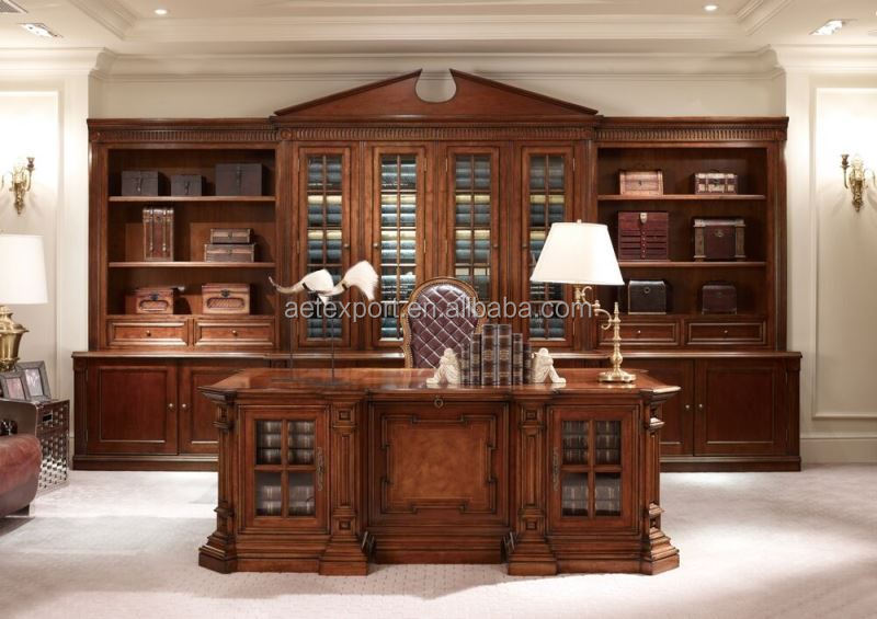 One-step office furniture solution classic American style office table solid  wood luxury presidential executive