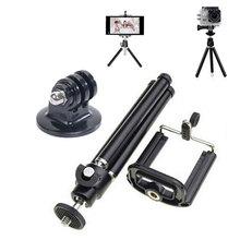 2016 universal aluminum Mini tripod for camera Mobile Phone + Stand Holder+Tripe Mount Adapter for Gopro Camera HD SJ4000