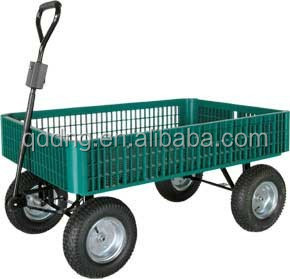 material handling cart garden utility cart with plastic mesh tray and four pneumatic wheels tc1858 - Garden Utility Cart