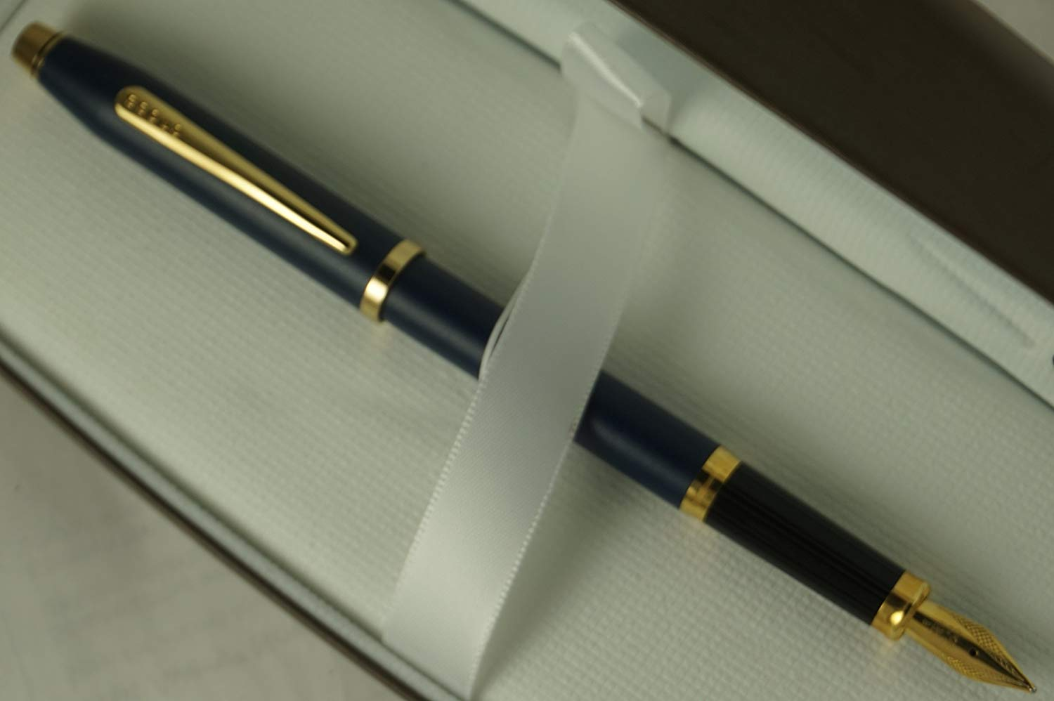 Cross Century II Limited Series, Satin Matte Blue Barrel with 23KT Gold Appointments, Solid and Stamped 18KT Gold XF NIB Fountain Pen in Pristine Cross Gift Box
