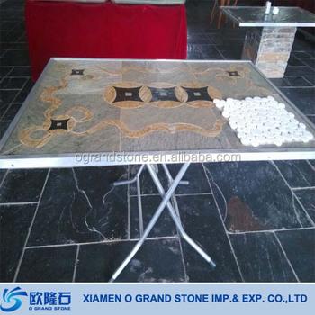 Outdoor Coffee Water Jet Mosaic Slate Table Top Buy Slate Table