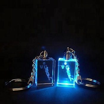 Personalised 2D Laser Engraved LED Light Crystal Key Chain