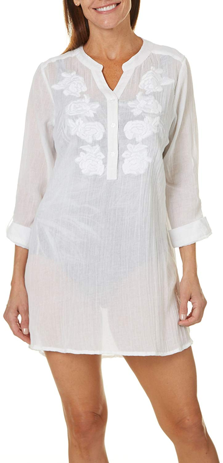 fe5b5ec06ad Get Quotations · Cathy Daniels Womens Gauze Tunic Cover-up Small White