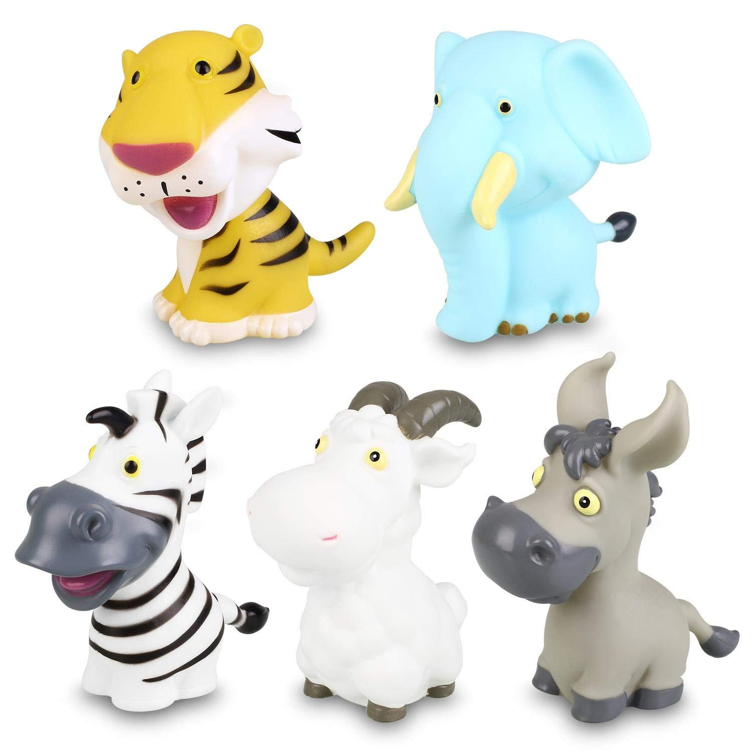 Water Bath Toys Peradix Baby Bath Assorted Floating Soft Sensory Animal Toys Set for Fun Water Bath Tub Shower Bathtime 5pcs with Bag for Hang Dry