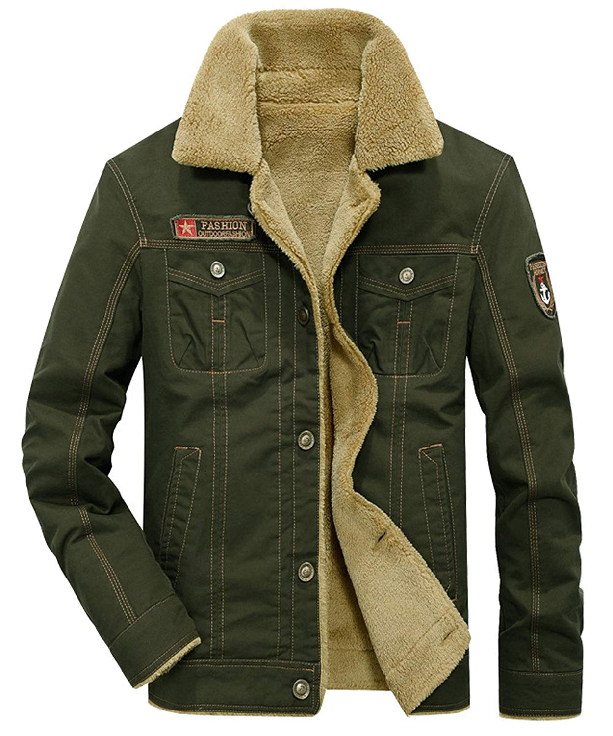 a1644b5393 Get Quotations · DUNKINBO Men s Cotton Outdoors Casual Fleece Military  Cargo Jacket Outwear Parka Winter Coat