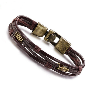 Wholesale Fashion Men Accessories Brown Rope Vintage Genuine Leather Bracelets
