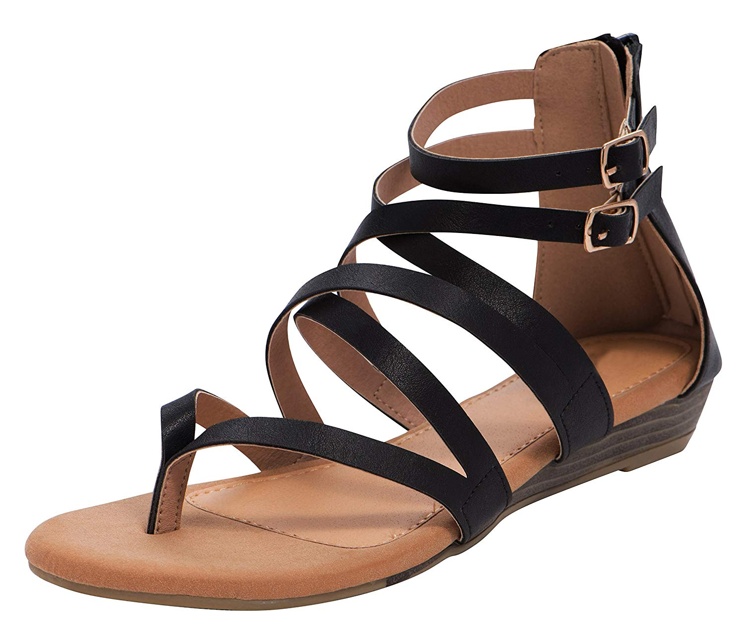 0a2d7ca00ca Get Quotations · Cambridge Select Women s Strappy Crisscross Open Toe  Buckled Ankle Low Wedge Sandal