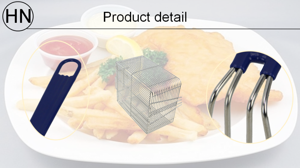 Stainless Steel Square Mesh Deep Fryer Basket with Plastic