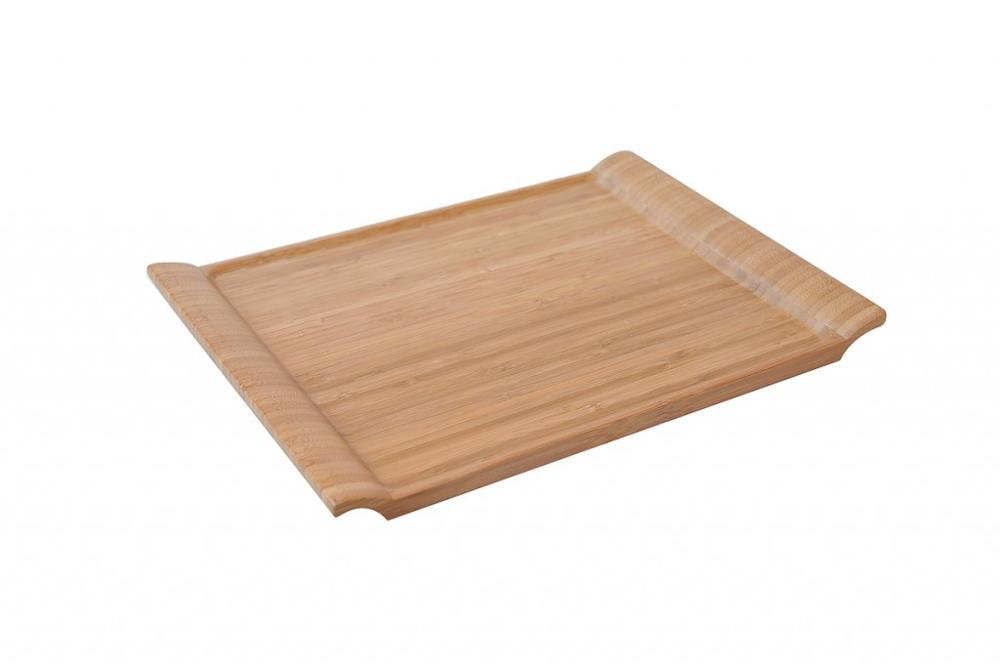 modern wood serving tray with unique handle